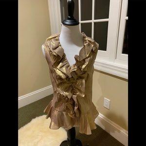 Ralph Lauren- Gold Sleeveless Blouse-Metallic Gold